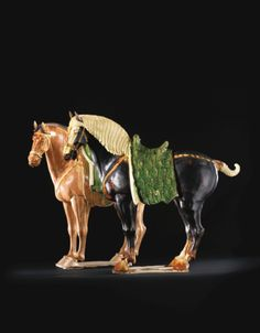 A PAIR OF MAGNIFICENT SANCAI-GLAZED POTTERY HORSES<br>TANG DYNASTY | lot | Sotheby's