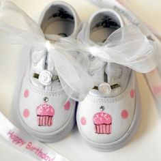"""Cute hand-painted sneakers from """"You Can Make This"""" (Little Fiori).  Pattern is available and pictures from several angles."""