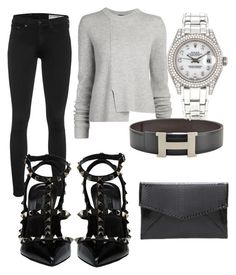 """Untitled #157"" by alicemidge ❤ liked on Polyvore featuring rag & bone, Proenza Schouler, Hermès, Valentino and Rolex"