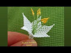 Kabak çiçeği sesli anlatımlı yapım aşamaları - YouTube Lace Flowers, Crochet Flowers, Knitting Socks, Baby Knitting, Pumpkin Flower, Needle Lace, Needle Tatting, Tatting Jewelry, Viking Tattoo Design
