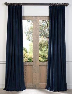 Blue Ink Vintage Cotton Velvet Curtain - SKU: VCCH-3150206 at https://halfpricedrapes.com