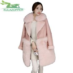 KULAZOPPER Winter Coat 2017 New Women Fox Fur coat Long Section Coat Fashion thick warmloose Fur collar Keep warm jacket xh90 * Find similar products on www.aliexpress.com by clicking the VISIT button #Womensfauxfurcoats