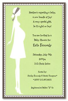 Gender Neutral Baby Shower Invitations, Silhouette Expecting Mom Green