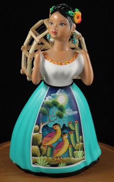 "NAJACO Ceramic Figurine ""Lupita"" Doll, Traditonal Dress wearing a Back Cage… Mexican Crafts, Mexican Folk Art, Mexican Style, Native Art, Native American Art, Mexican Ceramics, Mexican Heritage, Talavera Pottery, Mexican Dresses"