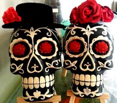 Mexican Day of the Dead Sugar Skulls.  These plaster sugar skulls are hand cast and painted by hand. Each one is individually styled and can be painted any colour you like, also can add