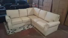 Alexander Corner Sofa in Real Leather Cream Settee Couch Group