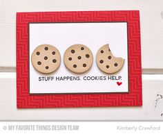 Handmade card from Kimberly Crawford featuring Laina Lamb Design Cookie Crumbs stamp set #mftstamps