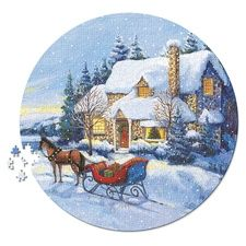 Home for the Holidays Round Puzzle