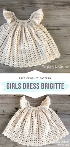 Girls Dress Brigitte Free Crochet Pattern Oh, this baby dress is classy! If your baby needs a one of a kind crochet dress for special occasions, this is the one! Crochet Baby Dress Free Pattern, Crochet Toddler Dress, Crochet Ruffle, Baby Dress Patterns, Baby Clothes Patterns, Baby Girl Crochet, Crochet Baby Clothes, Cute Crochet, Crochet For Kids