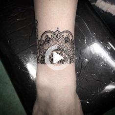 Half Mandala wrist work. #wristtattoos Mandala Wrist Tattoo, Butterfly Wrist Tattoo, Henna Mandala, Wrist Tattoos For Women, Tattoos For Women Small, Beautiful Tattoos, Cool Tattoos, Cuff Tattoo, Cover Tattoo