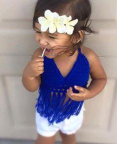 the Fringe-kini crochet baby bikini top by HadleyDesignsCA on Etsy