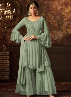 Dusty Green Embroidered Net Sharara Suit