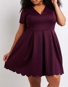 Charlotte Russe Plus Size Scallop-Trim Skater Dress