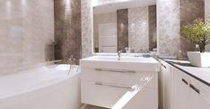 Obklady do koupelny série Constanta jsou v lesklé imitaci mramoru v přírodních odstínech béžové a hnědé. Formát obkladů je 25 x 40 cm. #keramikasoukup #koupelnyodsoukupa #constanta #koupelnyinspirace #inspirace #inspiration #mramor #obkladydokoupelny #koupelna Alcove, Sink, Bathtub, Bathroom, Home Decor, Sink Tops, Standing Bath, Washroom, Vessel Sink