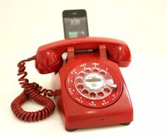 Vintage 70's Red Rotary Phone iPod / iPhone Speaker Dock by Rotary Revival $250 #phone ...need it.