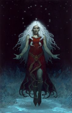 """PERCHTA  also known as Berchta or Percht; previously known as a goddess in Southern Germanic paganism in the Alpine countries. Her name means """"the bright one"""" and is potentially related to the name Berchtentag, meaning the feast of the Epiphany.  Initially Perchta was considered a minor benevolent deity, however her reputation mutated to that of an enchanted creature (spirit or elf). She was then later personified as a sorceress or witch with a malevolent character.  BromArt.com"""