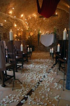 A romantic candlelit wedding ceremony setting in a rustic Spanish villa #barcelonawedding LOVE this.