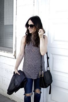 Sleeveless open knit sweater // spring trends