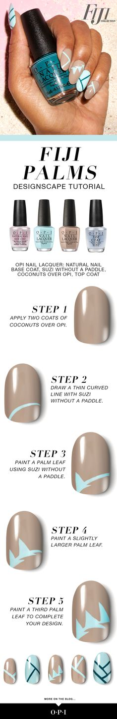 "OPI presents Fiji inspired nail art, ""Fiji Palms"". Try this fun nail art using the new Fiji collection for spring. Step 1: Apply 2 coats of Coconuts Over OPI. Step 2: Draw a thin curved line with Suzi Without a Paddle. Step 3: Paint a palm lead using Suzi Without a Paddle. Step 4: Paint a slightly larger palm leaf. Step 5: Paint a third palm leaf to complete your design."