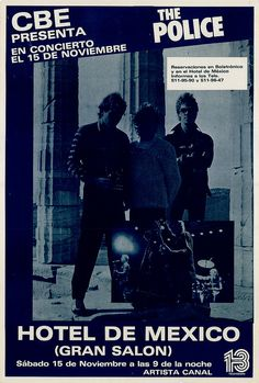 The Police concer posters | The Police - 1980 - November 15 - Live Concert at Mexico City, Mexico ...