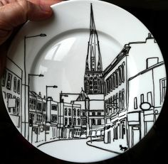 Customized dinnerware by jimbobart !! Send a picture of your house or street and he'll customize a food-safe plate! Great housewarming gift !! $69 !!