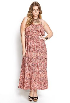 Abstract Flounce Maxi Dress | FOREVER21 PLUS - 2000068699
