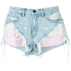 Alexander Wang distressed denim shorts (3,455 CNY) ❤ liked on Polyvore featuring shorts, bottoms, pants, short, blue, short shorts, beach shorts, distressed denim shorts, alexander wang and blue shorts