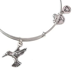 Alex and Ani Hummingbird  Expandable Wire Bangle Russian Silver