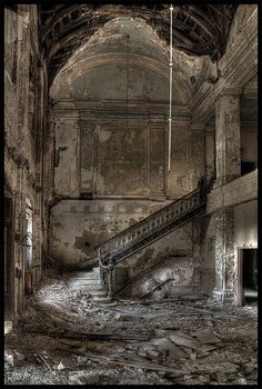 Decaying foyer in an abandoned school for boys, Poplar Knob, Maryland