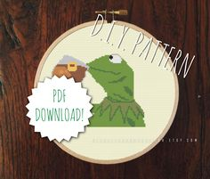 DIY None of Kermit's Business cross stitch pattern. Counted cross stitch. Needlepoint. Embroidery. Do It Yourself.