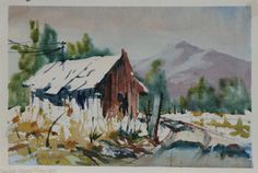 Original Watercolor by Marge Brichler, Cabin, 11X8