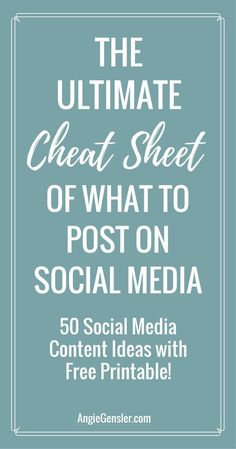 Stumped on what to post on social media? Here are 50 ideas of what to post on social media along with a handy printable! via (Tech Design Social Media) Social Media Automation, Social Media Analytics, Social Media Digital Marketing, Social Media Calendar, Social Media Content, Facebook Marketing, Internet Marketing, Online Marketing, Marketing Ideas