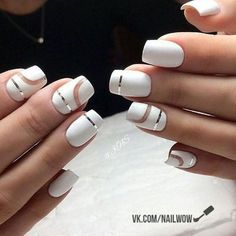 50 Geometric nail art designs for 2019 Geometric Nail Art designs are most popular nail designs aamong nail fashion because of the actuality that these Long White Nails, White Acrylic Nails, Line Nail Art, Lines On Nails, Geometric Nail Art, Beautiful Nail Art, Trendy Nails, Beauty Nails, Beauty Art