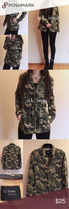 """Military light parka Gently used but in good used condition. Very cute light outerwear. Straps are adjustable. Pocket on the side. The zipper on chest area is for design. And top side fake pocket with studs. Model is 5'2"""" 115lbs wearing this size S. First photo shows where the zipper will close up to. ❌trade ❌hold ✅bundle discount Ci Sono Jackets & Coats Utility Jackets"""
