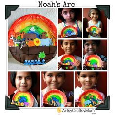 Noah's arc craft .. Build noah's arc with paper plate ..paint a rainbow and add animal stickers. easy. Toddler craft. Christian crafts.