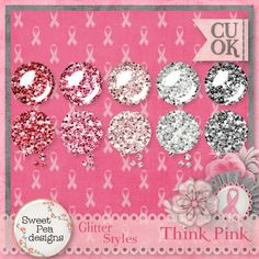Think Pink Glitter Styles - $1.00 : Sweet Pea Designs, Making Memories Last