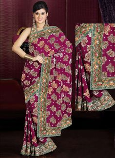 Embroidered Magenta Pure Crepe Saree