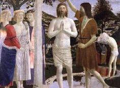 Piero della Francesca - Baptism of Christ, detail of Christ, John the Baptist and angels Baroque, Renaissance, Baptism Of Christ, John The Baptist, Painting Art, Medieval, Angels, Statue, Detail