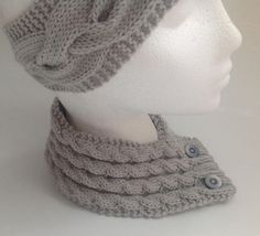 Ladies Dove Grey Cable Stitch Neck Warmer with Buttons by sewmoira