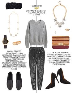 Weekend Style: Cashmere Sweater + Sequin Joggers 2 Ways