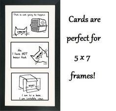 Angry Cat 3 Funny Cards for Cat Lovers Set by FunkyChicDesigns