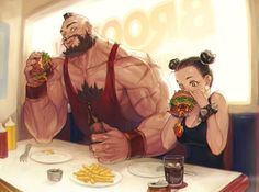 Awesome Zangief and Chun Li Art by Morry Street Fighter Characters, Fantasy Characters, Creation Art, Street Fights, Chun Li, Art Courses, Geek Art, Video Game Art, Character Design Inspiration