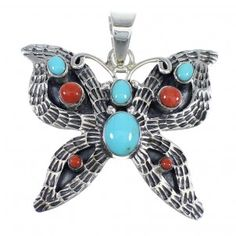 Southwest Sterling Silver Turquoise And Coral Butterfly Pendant VX55131