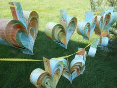 TWO Garlands Of Bright MAP HEARTS. 10 Hearts. by TreeTownPaper, $34.00