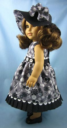 American Girl Doll Clothes  - Sundress and Hat in Black, White, Grey and Silver