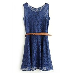 Lace Floral Belted Sleeveless Navy-blue Dress | pariscoming