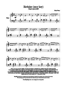 Birthday - Katy Perry free easy piano sheet music. MORE: www.PianoBragSongs.com.