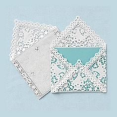 Lace Envelopes - with a touch of teal these are invite perfection