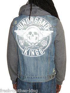 Ecko Unlimited Jacket New $79.50 Mens Blue Denim Trucker Hoodie Coat Choose Size