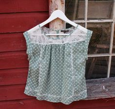 Peasant Blouse Short Sleeve Light Sage Green with White Polka Dots and Lace Size S